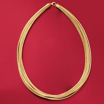 """Italian Multi-Strand Flex Necklace With 18kt Gold Over Sterling. 20"""", , default"""