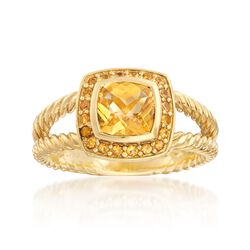 "C. 2000 Vintage David Yurman ""Petite Albion"" 1.10 Carat Citrine and .40 ct. t.w. Yellow Sapphire Ring in 18kt Gold. Size 8.5, , default"