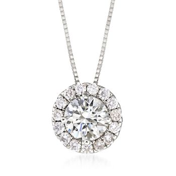 """1.00 ct. t.w. Diamond Halo Pendant Necklace in 14kt White Gold. 18"""", , default"""