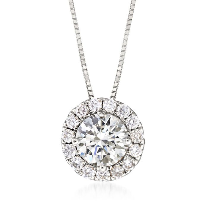 "1.00 ct. t.w. Diamond Halo Pendant Necklace in 14kt White Gold. 18"", , default"