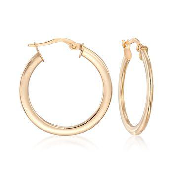 """Italian 14kt Yellow Gold Hoop Earrings. 1"""", , default"""