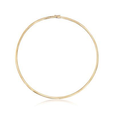 C. 1990 Vintage 4mm 14kt Yellow Gold Omega Necklace, , default