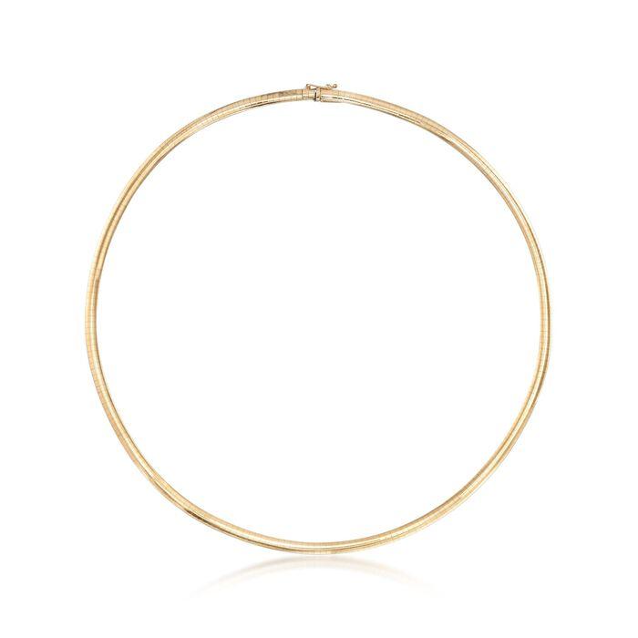 """C. 1990 Vintage 4mm 14kt Yellow Gold Omega Necklace. 18.5"""", , default"""