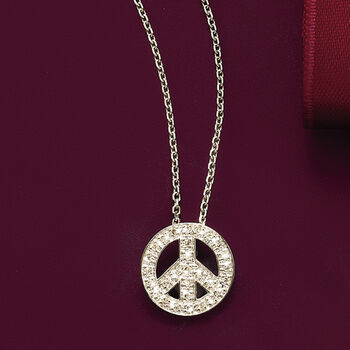 .10 ct. t.w. Diamond Peace Sign Pendant Necklace in 14kt White Gold