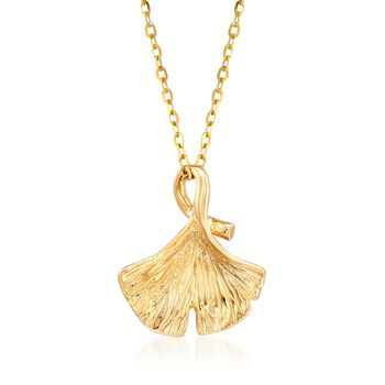 "18kt Yellow Gold Ginkgo Leaf Pendant Necklace. 18"", , default"