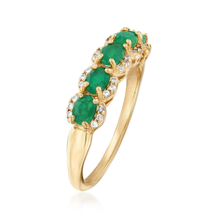 .80 ct. t.w. Emerald and .10 ct. t.w. White Zircon Ring in 18kt Gold Over Sterling