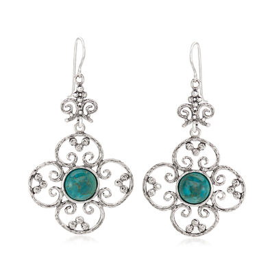 Turquoise Openwork Flower Drop Earrings in Sterling Silver