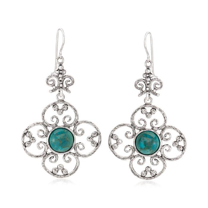 Turquoise Openwork Flower Drop Earrings in Sterling Silver