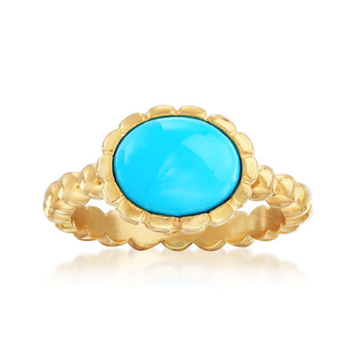 Italian Turquoise Ring in 18kt Gold Over Sterling, , default