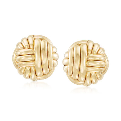 Italian Woven Clip-On Earrings in 14kt Yellow Gold, , default