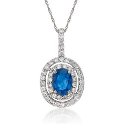 "1.60 Carat Sapphire and .70 ct. t.w. Diamond Pendant Necklace  in 14kt White Gold. 16"", , default"