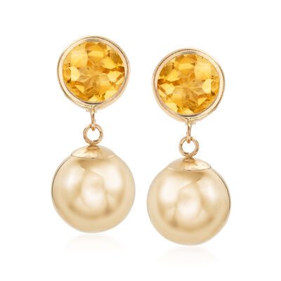 4.00 ct. t.w. Citrine and 14kt Yellow Gold Ball Drop Earrings, , default