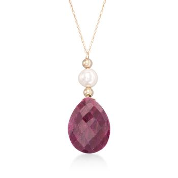 """10.00 Carat Ruby and Cultured Pearl Drop Necklace in 14kt Yellow Gold. 18"""", , default"""