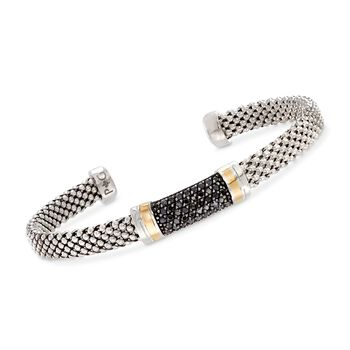 "Phillip Gavriel ""Popcorn"" .42 ct. t.w. Black Sapphire Cuff Bracelet in Sterling Silver and 18kt Gold. 7"", , default"