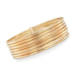 18kt Yellow Gold Over Sterling Silver Attached Bangle Bracelets, , default