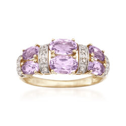 1.80 ct. t.w. Pink Amethyst and .10 ct. t.w. Diamond Ring in 14kt Yellow Gold, , default