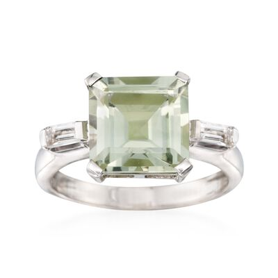 4.50 Carat Green Prasiolite and .20 ct. t.w. White Topaz Ring in Sterling Silver, , default