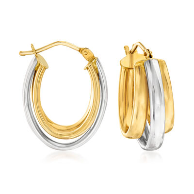 Italian 14kt Two-Tone Gold Three-Row Hoop Earrings