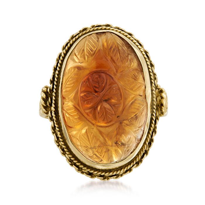 C. 1960 Vintage 11.00 Carat Citrine Carved Leaf Ring in 14kt Yellow Gold