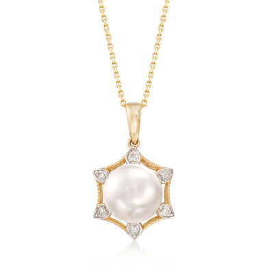 10-10.5mm Cultured Pearl Pendant Necklace with Diamond Accents in 14kt Yellow Gold, , default