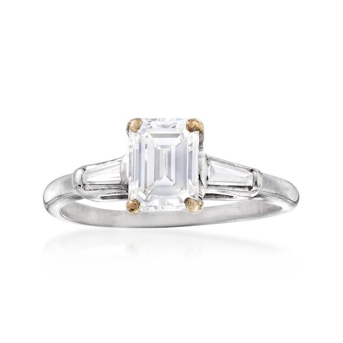 C. 1970 Vintage 1.30 ct. t.w. Diamond Ring in Platinum. Size 6.75, , default