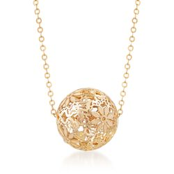 Italian 14kt Yellow Gold Floral Openwork Bead Necklace, , default
