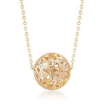 Italian 14kt Yellow Gold Floral Openwork Bead Necklace, , default