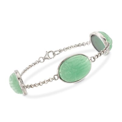 Green Jade Scarab Station Bracelet in Sterling Silver, , default