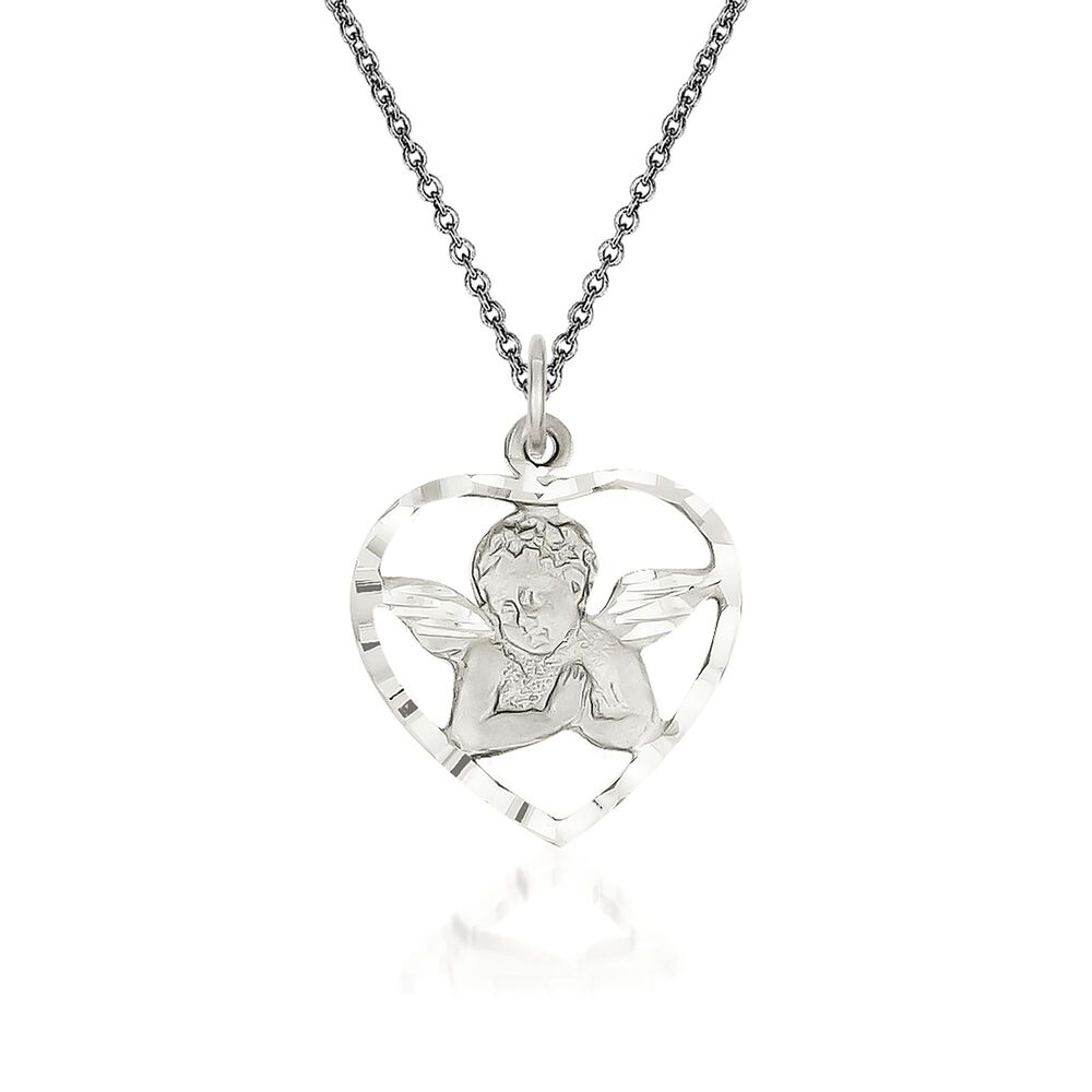 14kt white gold angel pendant necklace 18 ross simons 14kt white gold angel pendant necklace 18quot default aloadofball Image collections