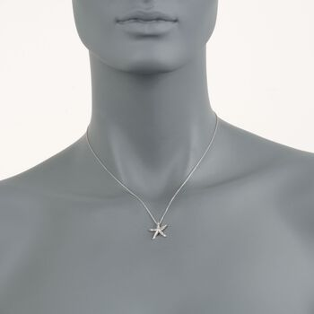 "Roberto Coin ""Tiny Treasures"" .16 ct. t.w. Diamond Starfish Necklace  in 18kt White Gold. 16"", , default"
