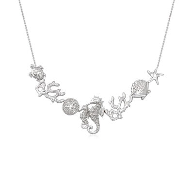 .25 ct. t.w. Diamond Sea Life Necklace in Sterling Silver