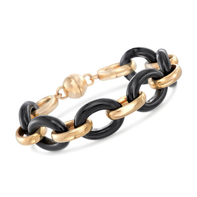 Andiamo 14kt Yellow Gold and Black Onyx Link Bracelet with Diamond Accent on Magnetic Clasp, , default