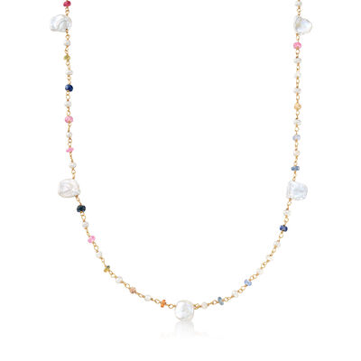 Cultured Semi-Baroque and Keshi Pearl Necklace with 5.00 ct. t.w. Multicolored Sapphires in 18kt Gold Over Sterling, , default