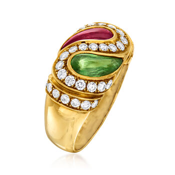 C. 1980 Vintage 1.84 ct. t.w. Green and Pink Tourmaline and .81 ct. t.w. Diamond Yin-Yang Ring in 18kt Yellow Gold. Size 7, , default