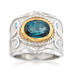 3.40 Carat Blue Topaz and .10 ct. t.w. Aquamarine Ring in Two-Tone Sterling Silver, , default