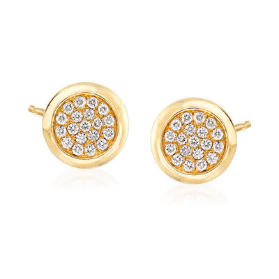 .41 ct. t.w. Pave Diamond Circle Earrings in 14kt Yellow Gold, , default