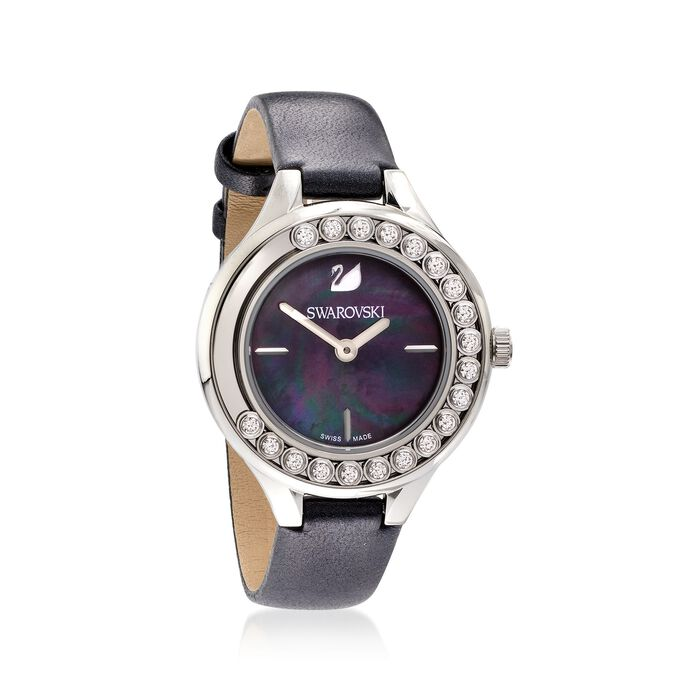 Swarovski Crystal Lovely Crystals Women's Stainless Steel Watch with Black Mother-Of-Pearl and Leather