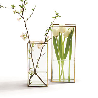 Set of 2 Windowed Square Vases with Gold Trim