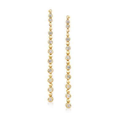1.25 ct. t.w. Diamond Linear Drop Earrings in 14kt Yellow Gold, , default
