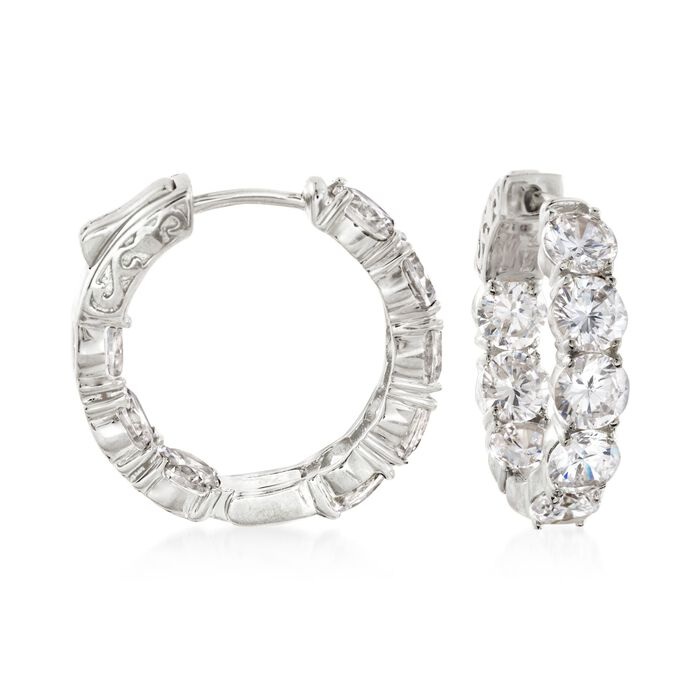 "7.00 ct. t.w. CZ Inside-Outside Hoop Earrings in Sterling Silver. 7/8"", , default"