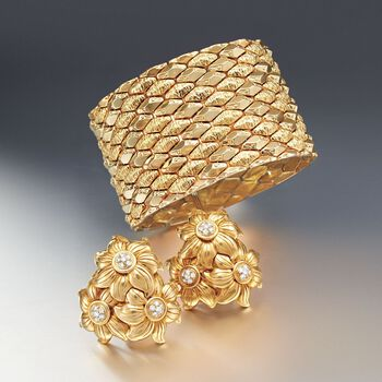 C. 1970 Vintage .90 ct. t.w. Diamond Floral Cluster Earrings in 18kt Yellow Gold, , default