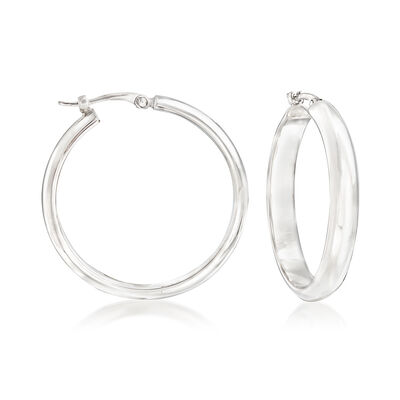 Sterling Silver Hoop Earrings, , default