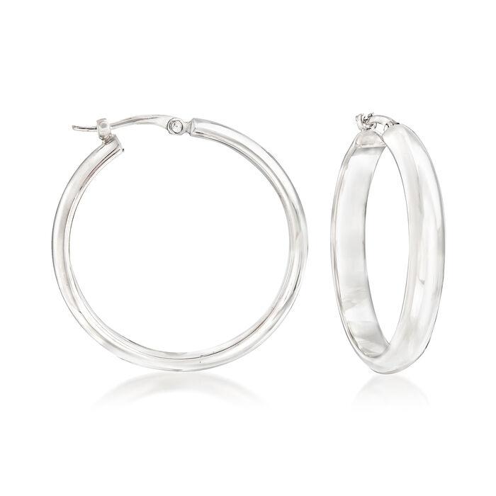 """Sterling Silver Hoop Earrings. 1"""", , default"""