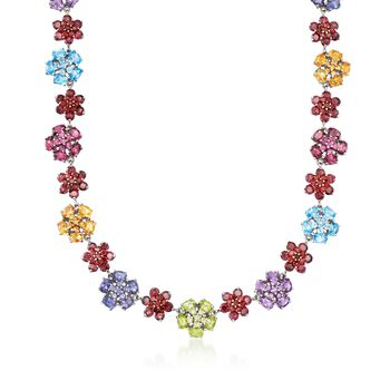 "61.15 ct. t.w. Multi-Stone Floral Necklace in Sterling Silver. 17"", , default"
