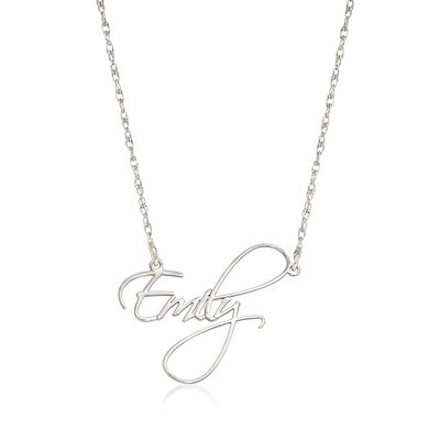 Sterling Silver Handwritten-Style Script Name Necklace, , default