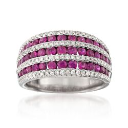 1.60 ct. t.w. Ruby and .53 ct. t.w. Diamond Seven-Row Dome Ring in 18kt White Gold, , default