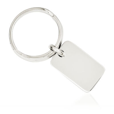 Sterling Silver  Rectangular Engravable Key Ring, , default