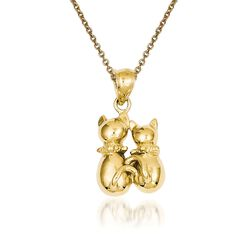 "14kt Yellow Gold Cat Pendant Necklace. 18"", , default"