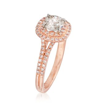 Henri Daussi 1.12 ct. t.w. Diamond Double Halo Engagement Ring in 14kt Rose Gold, , default