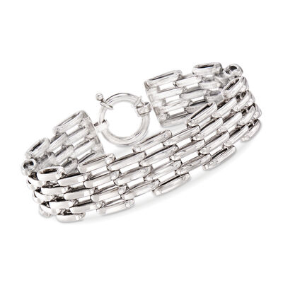 Sterling Silver Multi-Row Oval-Link Bracelet, , default